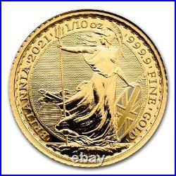 1/10 oz Gold Coin 2021 Great Britain Britannia Royal Mint 10 Pounds Coin