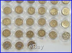 £1 One Pound Coins. FULL SET 44 COINS 1983-2018, Album And Last Round Pound