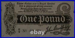 £1 Treasury note T3-3 One Pound 1914 George V John Bradbury Scarce variety