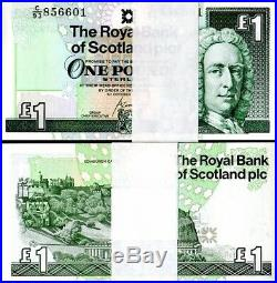 100 BRAND NEW UNCIRCULATED Crisp Scottish One Pound £1 Notes Consecutive Number