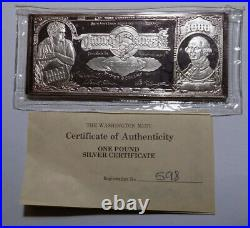 $1000 Certificate Washington Mint One Pound almost 16 troy oz. 999 silver bar