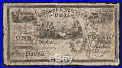 1833 Gibbons & Williams 39 Dame Street Dublin £1 One Pound Note No. 502