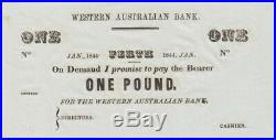 1844 Western Australian Bank Unissued One Pound Uncirculated