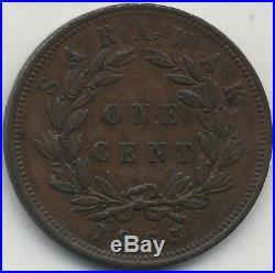 1863 Sarawak One Cent Coin Pennies2Pounds