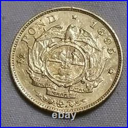 1895 South Africa Gold Half 1/2 Pond Pound Ef Xf Extremely Fine coin