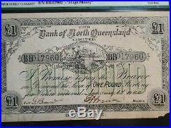 1900 Australia Bank Of N. Queensland One Pound Note PMG VF20 1P Bill BUY IT NOW