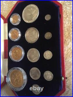 1902 Edward VII Gold & Silver 13 Coin Set- Gold 5 Pound to 1d With Box