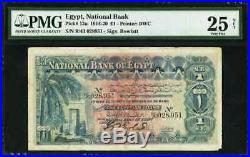 1916 One Pound Banknote National Bank of Egypt Rowlatt Signature P12a PMG 25VF