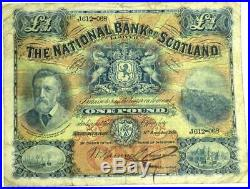 1916 The National Bank Of Scotland £1 One Pound Note J612- 068