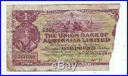 1923 The Union Bank of Australia Limited New Zealand One Pound Banknote Stamped