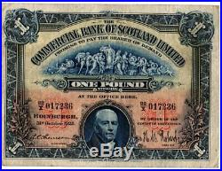 1925 The Commercial Bank Of Scotland Limited £1 One Pound Note 22/X 017236