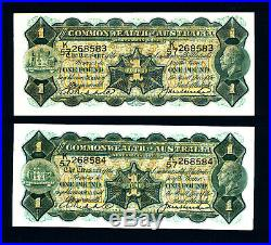 1927 One Pound Note Riddle Heathershaw AUnc Consecutive Pair extremely rare