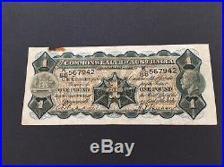 1932 Australian One Pound Note (Riddle/Sheehan) SCARCE banknote