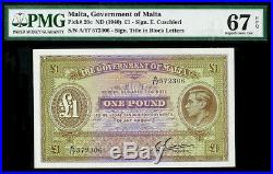 (1940) MALTA ONE POUND KING GEORGE VI NOTE PMG GEM UNCIRCULATED 67 EPQ KP# 20c