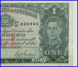 1942 Australia One Pound Note in Very Fine Condition! P. 26