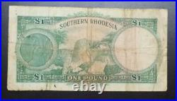 1945 SOUTHERN RHODESIA RARE ONE 1 POUND P-10 FEB 1st KING GEORGE VI ZIMBABWE