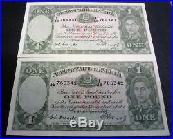 1949 x 2 Australian One Pound Notes-Coombs/Watts-UNC