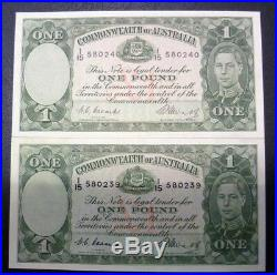 1949 x 2 Australian UNC One Pound Notes-Coombs/Watts