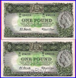 1961 Australia One Pound Notes 2 X Consecutive Coombs /wilson Hi/51 694219 220