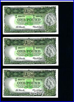 1961 One Pound Consec Trio Error Notes Coombs/Wilson EF extremely rare