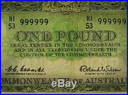 1961 One Pound Coombs / Wilson Solid Numbered HJ/53 999999 Banknote