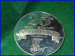 1968-1993 Carriage Inc. 25th Ann. One Pound (14.6) Oz. 999 Fine Silver Art Rd