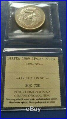 1969 BIAFRA 1 One Pound Silver coin ICCS MS-64