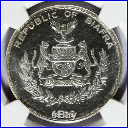 1969 Biafra 1 One Pound Silver Coin NGC MS 66 KM# 6 RARE