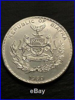 1969 Biafra 1 One Pound Silver Coin RARE