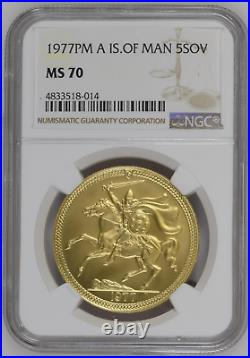 1977 Isle Of Man Five Pound Sovereign MS70 Gold 5 Sov Top Pop Only One 70 Exists