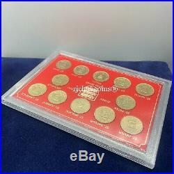 1983 1989 JEP Coin 12 x Jersey £1 One Pound Coins Parish Series in folder UNC