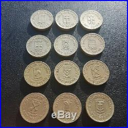 1983 1989 One Pound £1 Coins Jersey Set Of Parishes Complete Set Rare