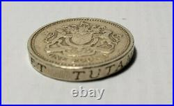 1983 Royal Arms One 1 Pound Coin Upside Down Error Stamp