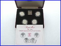 1984-1987 Royal Mint British UK £1 One Pound Silver Proof 4 Coin Set Box Coa