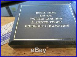 1984 1987 UK 4 x £1 ONE POUND PIEDFORT SILVER PROOF COIN SET quite scarce set