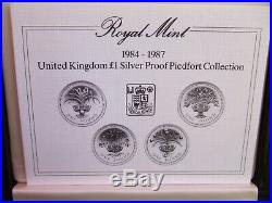 1984-1987 UK One Pound £1 Silver Proof Piedfort Set! Mintage 15,000