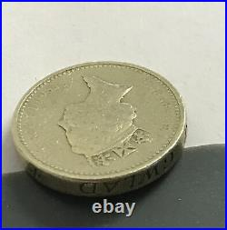 1985 £1 One Pound Coin Mint Error Upside Down Queen Elizabeth Welsh Leek C5