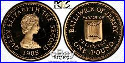 1985 Bailiwick of Jersey One Pound PROOF Gold Coin. PCGS Genuine UNC AGW. 5794oz