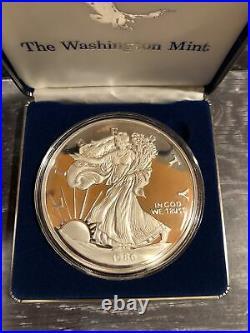 1986 AMERICAN SILVER EAGLE Proof Round. 999 Fine Silver 1/2 Pound 8 Ozt 249 Gra