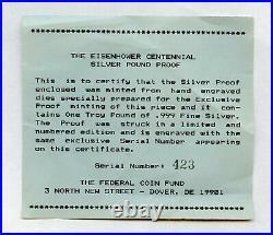1990 One Pound/12oz. 999 Fine Silver Round