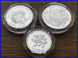 1995 3 Coin Family Silver PROOF Collection Royal Mint Set One/Two Pound Case COA