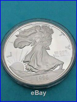 1996 Giant One Half Pound Silver Proof. 999 Fine Silver Liberty
