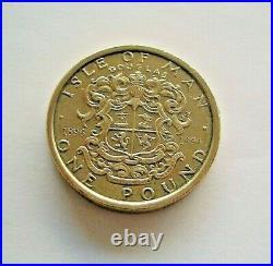 1996 ISLE OF MAN DOUGLAS TOWN ARMS ONE POUND £1 COIN IoM MANX AA DIE