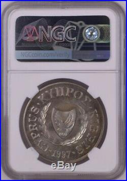 1997 Cyprus One Pound, World Wildlife Fund, Turtle, Ngc Ms67, Gem Unc, Rare