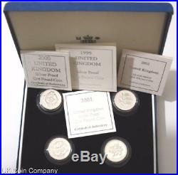1999 2002 Silver Proof £1 One pound Coin United Kingdom 4 Coin Set