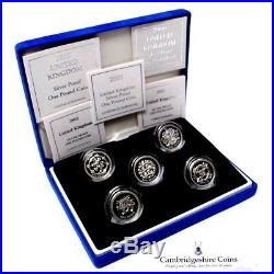 1999 2003 Silver Proof One Pound Coin Set Of 5 Coins Lion Dragon Celtic Cross