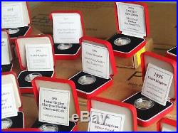 20 x UK Silver Proof Piedfort One Pound £1 Coins