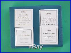 2000 2001 2002 2003 Four Silver Piedfort One Pound coins COA's Cased SNo45212