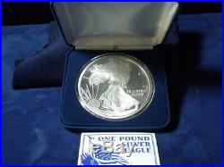 2000 Proof Silver Eagle. 999 fine silver 12 TROY OUNCES ONE TROY POUND CONT MINT