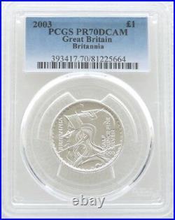2003 British Royal Mint Britannia £1 One Pound Silver Proof Coin PCGS PR70 DCAM